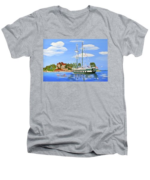 Men's V-Neck T-Shirt featuring the painting St Lawrence Waterway 1000 Islands by Phyllis Kaltenbach