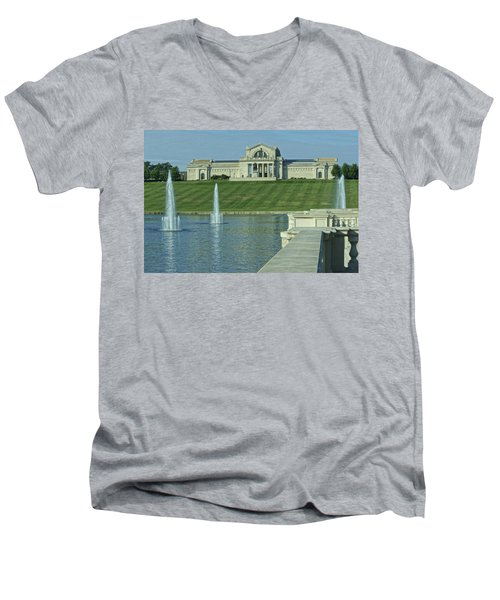 St Louis Art Museum And Grand Basin Men's V-Neck T-Shirt by Greg Kluempers