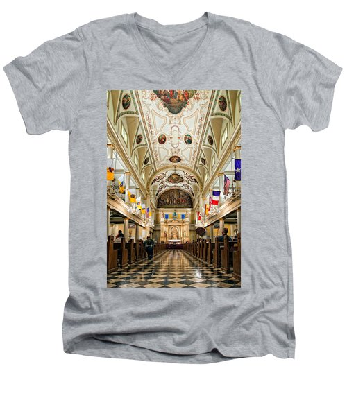 St. Louis Cathedral Men's V-Neck T-Shirt by Steve Harrington