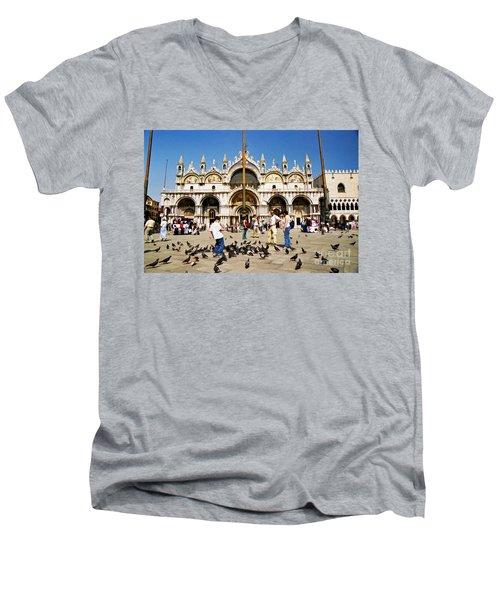 Men's V-Neck T-Shirt featuring the photograph St. Mark's Basilica  by Allen Beatty