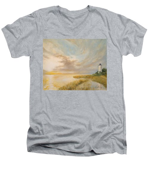 Men's V-Neck T-Shirt featuring the painting St Marks Lighthouse by Alan Lakin