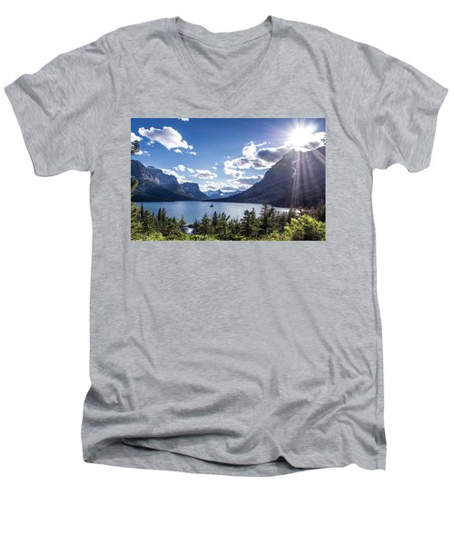 St. Mary Lake Men's V-Neck T-Shirt by Aaron Aldrich