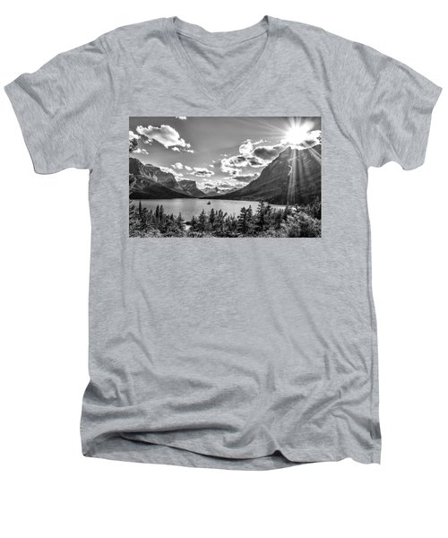 St. Mary Lake Bw Men's V-Neck T-Shirt by Aaron Aldrich