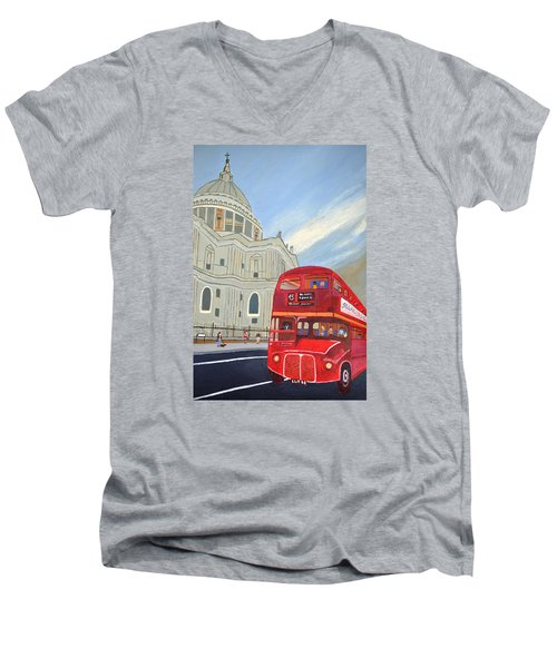 Men's V-Neck T-Shirt featuring the painting St. Paul Cathedral And London Bus by Magdalena Frohnsdorff