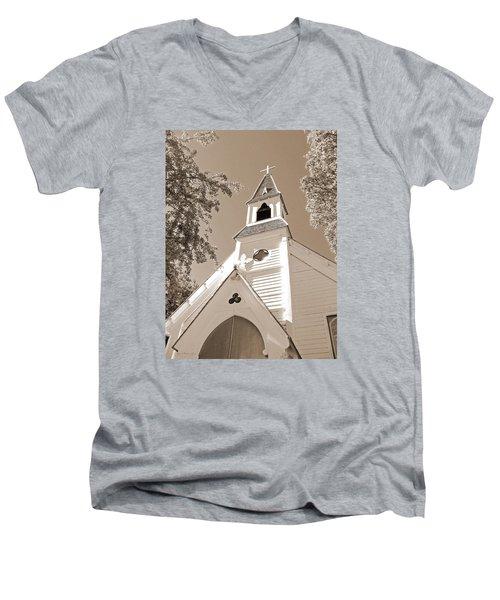 St. Paul's Church Port Townsend In Sepia Men's V-Neck T-Shirt by Connie Fox