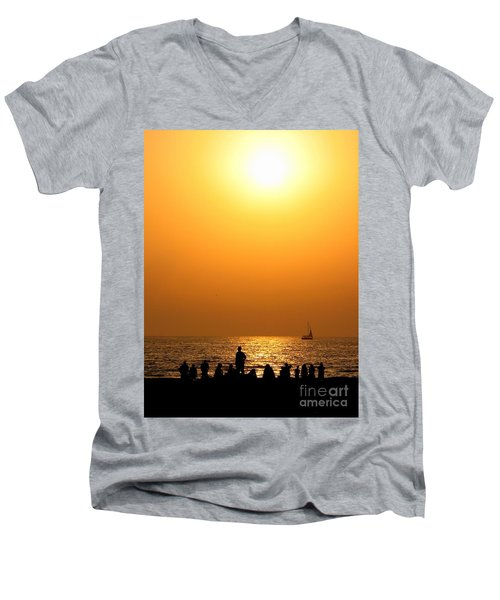 St. Petersburg Sunset Men's V-Neck T-Shirt by Peggy Hughes