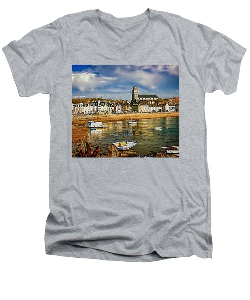 Men's V-Neck T-Shirt featuring the photograph Saint Servan Anse by Elf Evans