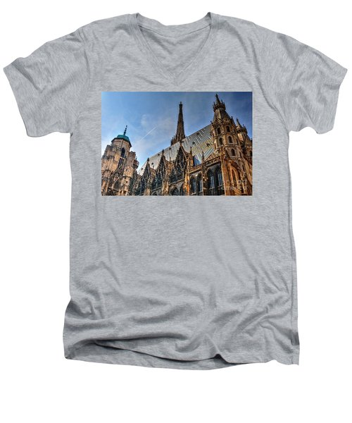 Men's V-Neck T-Shirt featuring the photograph St. Stephen's Cathedral by Joe  Ng
