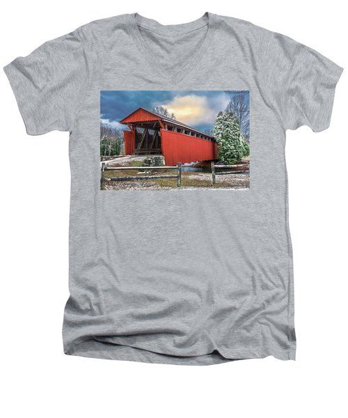 Staats Mill Covered Bridge Men's V-Neck T-Shirt by Mary Almond