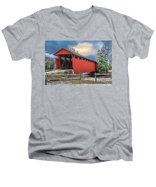 Staats Mill Covered Bridge Men's V-Neck T-Shirt