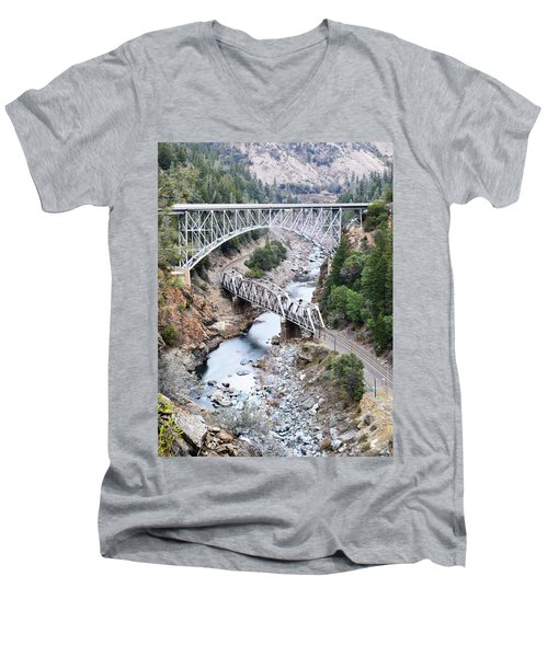 Stacked Bridges Men's V-Neck T-Shirt by Holly Blunkall