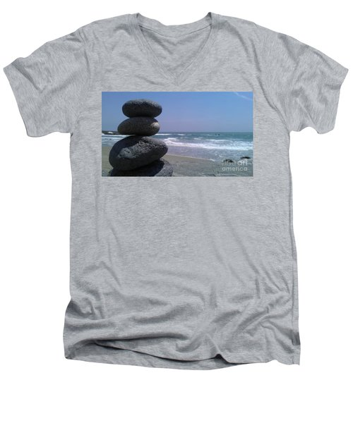 Men's V-Neck T-Shirt featuring the photograph Stacked Rocks by Chris Tarpening
