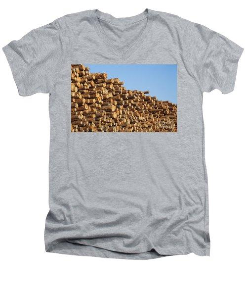 Stacks Of Logs Men's V-Neck T-Shirt