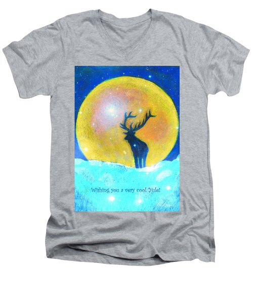 Stag Of Winter Men's V-Neck T-Shirt by Diana Haronis