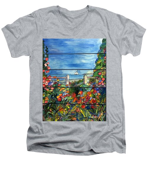 Stained Glass Tiffany Landscape Window With Sailboat Men's V-Neck T-Shirt