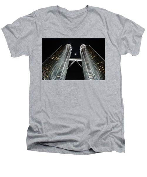 Stainless Steel Moon Men's V-Neck T-Shirt