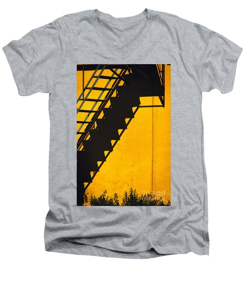Men's V-Neck T-Shirt featuring the photograph Staircase Shadow by Silvia Ganora