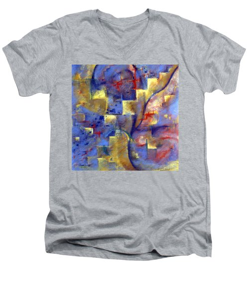 Men's V-Neck T-Shirt featuring the pastel Staircases by Susan Will