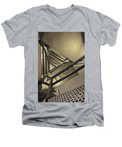 Men's V-Neck T-Shirt featuring the photograph Stairing Up The Spinnaker Tower by Terri Waters