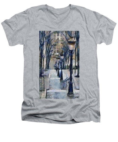 Stairs With Lamps Men's V-Neck T-Shirt