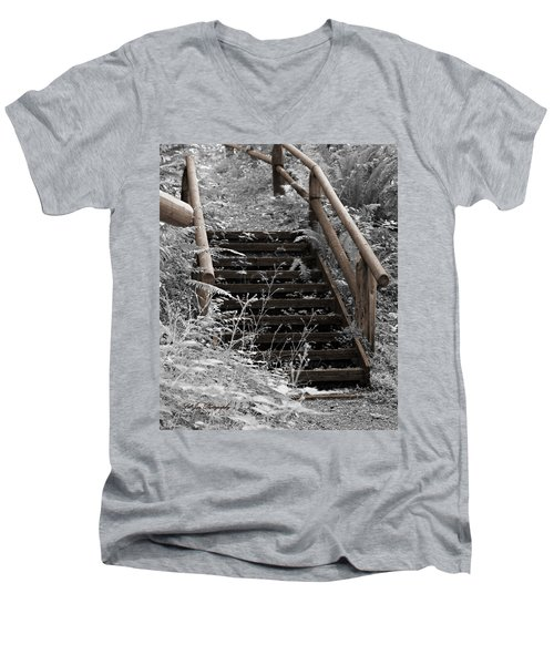 Stairway Home Men's V-Neck T-Shirt by Jeanette C Landstrom