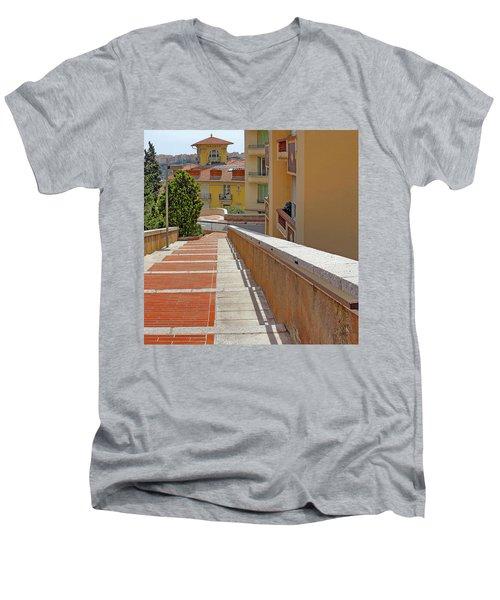 Stairway In Monaco French Riviera Men's V-Neck T-Shirt