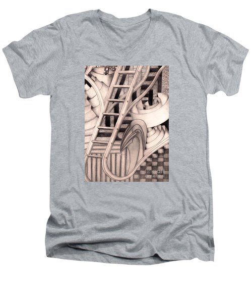 Men's V-Neck T-Shirt featuring the drawing Stairway To.... by John Stuart Webbstock