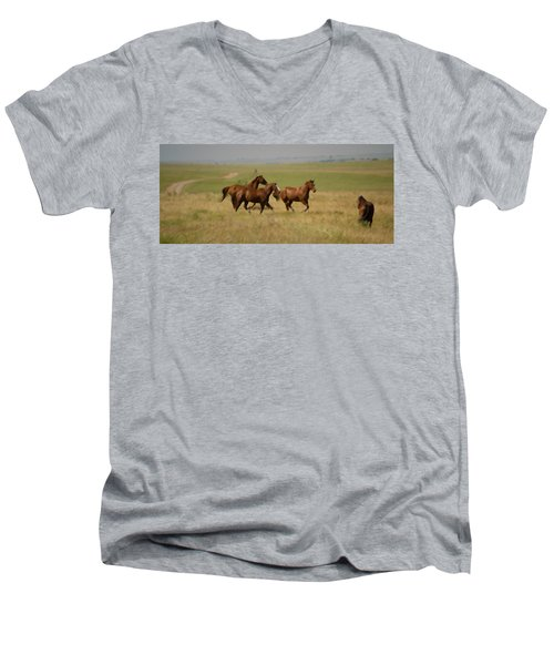 Men's V-Neck T-Shirt featuring the photograph Stances by Rima Biswas