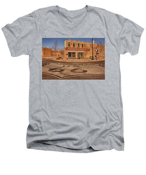 Standin' On The Corner Park Men's V-Neck T-Shirt by Priscilla Burgers