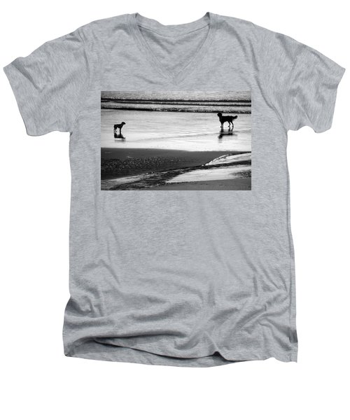 Standoff At The Beach Men's V-Neck T-Shirt