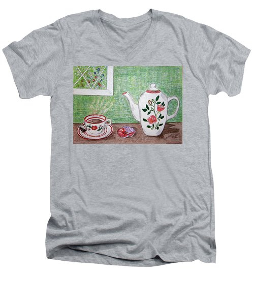 Men's V-Neck T-Shirt featuring the painting Stangl Pottery Rose Pattern by Kathy Marrs Chandler