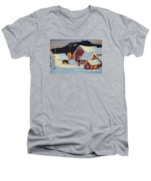 Stanley Kay Farm Men's V-Neck T-Shirt by Len Stomski