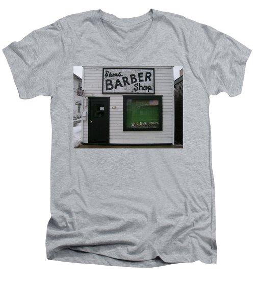 Stans Barber Shop Menominee Men's V-Neck T-Shirt