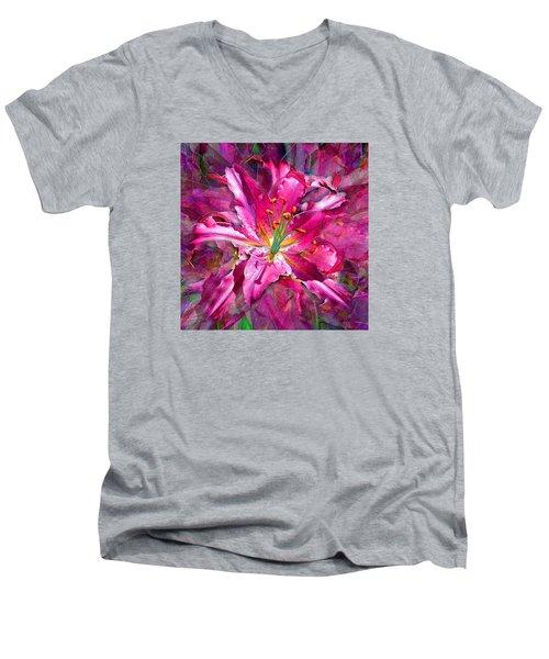 Star Gazing Stargazer Lily Men's V-Neck T-Shirt by Michele Avanti