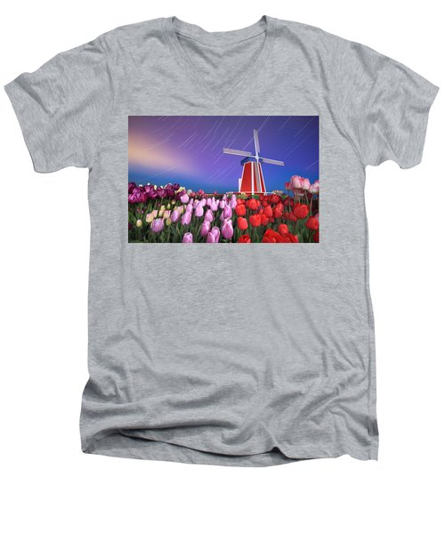 Star Trails Windmill And Tulips Men's V-Neck T-Shirt by William Lee