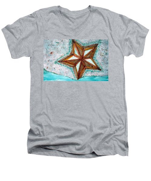 Starfish On The Beach Alcohol Inks Men's V-Neck T-Shirt