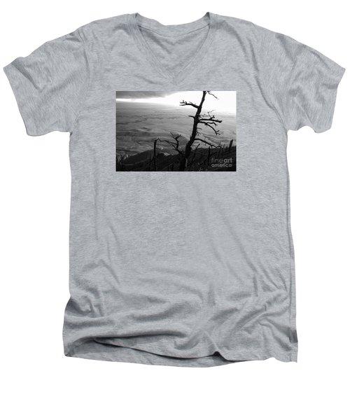 Men's V-Neck T-Shirt featuring the photograph Stark Tree by Mary Carol Story