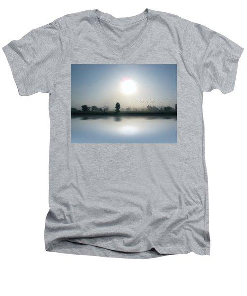 Starlings Misty Morning Men's V-Neck T-Shirt by Cedric Hampton