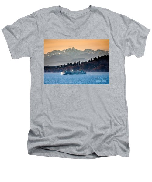 State Ferry And The Olympics Men's V-Neck T-Shirt