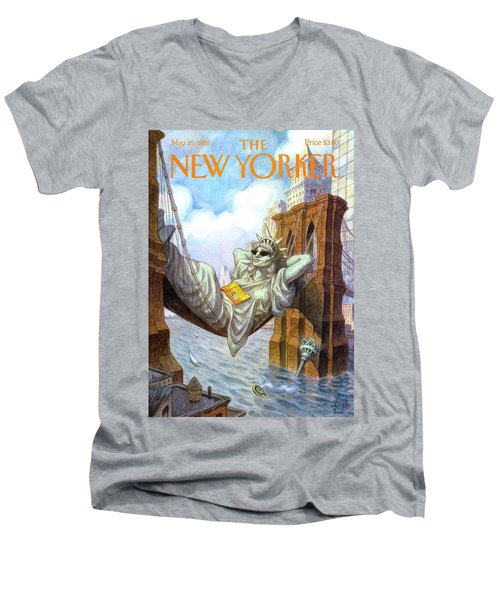 Statue Of Liberty Lounges Between The Brooklyn Men's V-Neck T-Shirt
