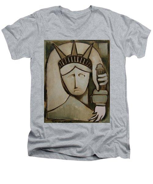 Tommervik Abstract Statue Of Liberty Art Print Men's V-Neck T-Shirt