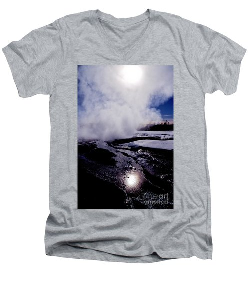 Men's V-Neck T-Shirt featuring the photograph Steam by Sharon Elliott