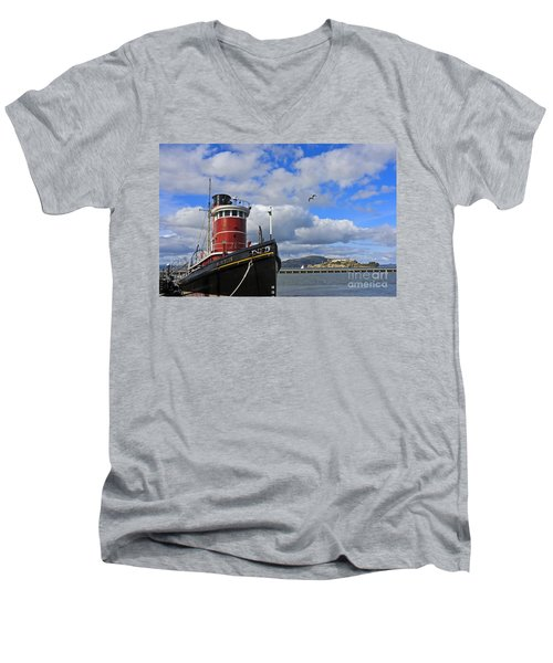 Men's V-Neck T-Shirt featuring the photograph Steam Tug Hercules by Kate Brown