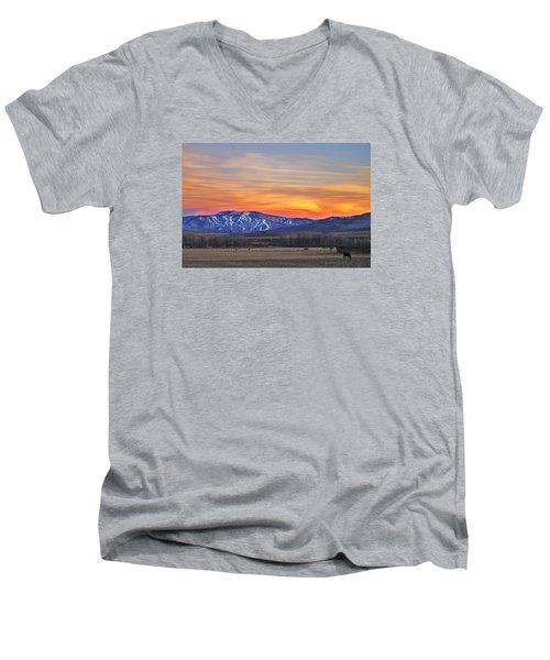 Steamboat Alpenglow Men's V-Neck T-Shirt by Matt Helm