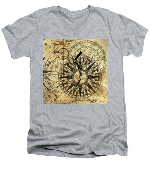 Steampunk Gold Compass Men's V-Neck T-Shirt