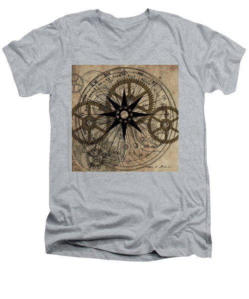 Men's V-Neck T-Shirt featuring the painting Steampunk Gold Gears II  by James Christopher Hill