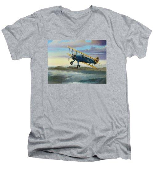 Stearman Biplane Men's V-Neck T-Shirt by Stuart Swartz