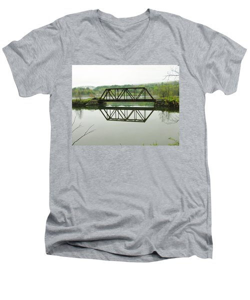 Men's V-Neck T-Shirt featuring the photograph Vermont Steel Railroad Trestle On A Calm  Misty Morning by Sherman Perry