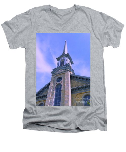 Men's V-Neck T-Shirt featuring the photograph Steeple Church Arch Windows  1 by Becky Lupe