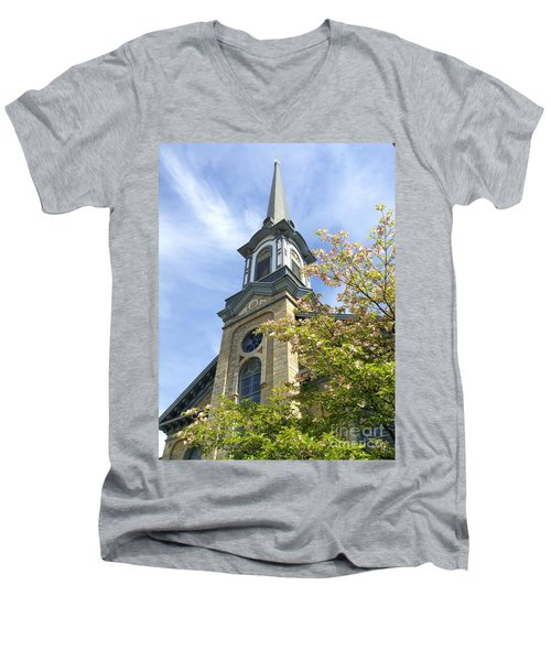 Men's V-Neck T-Shirt featuring the photograph Steeple Church Arch Windows by Becky Lupe